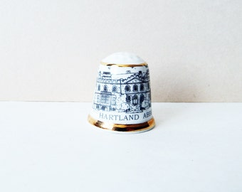 Vintage China Thimble - English   Museum Collection - Hartland Abbey Souvenir- Bone China Thimble, VintageSewing, Womens Collectibles