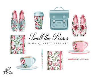 Shoe Clipart - Commercial use Clip art - Planner Clipart - Invitation Clip art - Floral clip art - Floral Note book - Floral travel cup -
