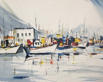 """Mid Century Post Impressionist Watercolor ~ Marina, Guaymas, Mexico by Wanda Kruhns. Excellent. Size 22.5""""L x 15"""" h"""