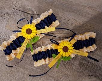 Navy sunflower garter, Wedding Garter SET , beautiful  navy  blue and  yellow gold sunflower themed garter set