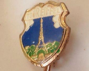 Paris pin, Paris brooch, enameled pin, Eiffel Tower, vtg Paris, vtg Eiffel Tower, French pin, enamel metal pin, souvenir pin