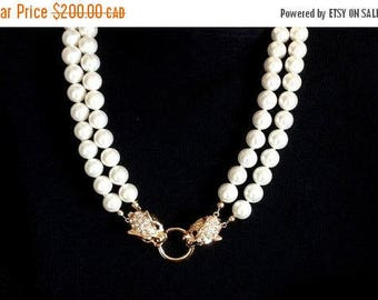CLOSING SALE: Ashira 2 Strand White Mother of Pearl Nacre Pearls Statement Necklace with Stunning Panther Clasp
