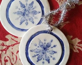 Ceramic Star Snowflake Ornament - Blue and White