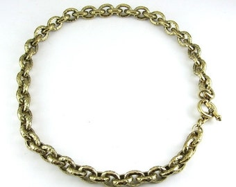 CAROLEE Hammered Look Status Link Chain Necklace with Toggle Clasp- Vintage