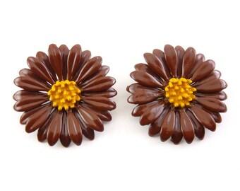 Large 1960's Brown & Golden Yellow Enamel Daisy Flower Earrings, Clip On