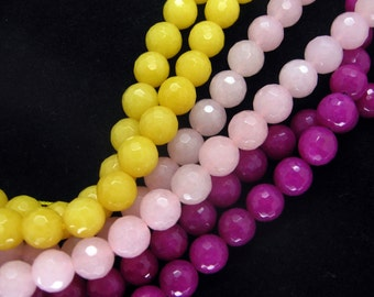 Full Strand Colorful Jade Faceted Round Beads 8mm