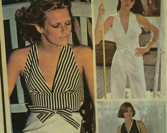 Halter Top Pattern, Wide Leg Pants, Fitted Midriff, Vest-Look, Button Back, Short Shorts, Palazzo Pants, McCalls No. 4538 Size 18 Bust 40""