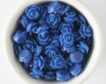 6 Piece Royal Blue 10mm Cabochon Rosette Flowers DIY Earrings Bobby Pins