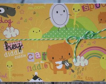 Hey Diddle Diddle Card, Nursery Rhyme Notecard, Nursery Rhyme Birthday Card, Baby Birthday Card, Toddler Birthday Card