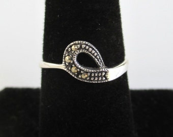 925 Sterling Silver & Marcasite Band Ring - Vintage Unused, Size 7
