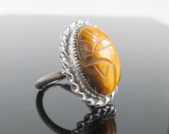 Sterling Silver & Tigers Eye Carved Scarab Ring - Vintage AMCO, Size 5 1/2 to 6 1/2