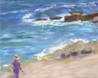 Original Painting,  Ocean Art, Seascape, Figure, California Coast, beach, canvas art, 8 X10, SFA