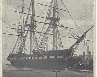 U.S Frigate Constitution Vintage Postcard Old Ironsides Unused Old Post Card War of 1812 Ship American Civil War Warship