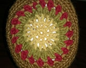 Reserved for Eli...Hat Mandala Crochet Original Design, Old Gold, Yellow and Red