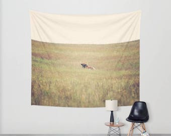 Wall Tapestry, Wall Hanging, Tapestry, Country Chic, Farm House Decor, Minimalist, Brown and Tan, Long Horn, Nature Wall Hanging