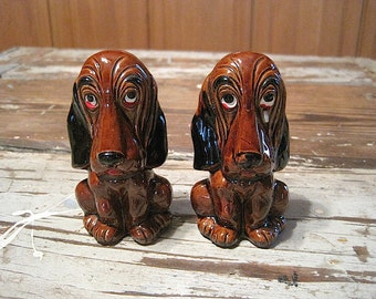 Brown Enesco Hound Dog Salt and Pepper Shakers
