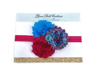 Baby Headband, Fuchsia Headband, Turquoise Headband, Shabby Chic Triple Rose Headband, Newborn Headband, Childrens Headband,Flower Headband