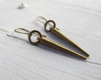 Long Spike Earrings, Industrial/ Punk Spiked Dangles, Antique Brass Tone Earrings, Handmade Bohemian Bijoux