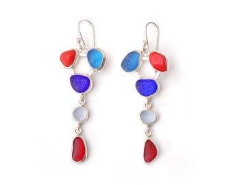 Red and Blue Five Drop Sea Glass Earrings in Silver bezel set