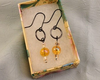 Dangle Earrings With Brilliant Gold Glass Beads