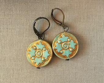 Round Mandala Aqua and Gold Earrings
