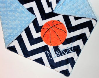 PERSONALIZED Basketball Baby Blanket, Double Minky Chevron Baby Boy Blanket, Sports Nursery Bedding Decor,Navy and Light Blue,Custom Blanket