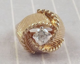 Vintage Gold Electroplate Cocktail Ring, US Size 6.25, Flower Bud Bloom, Clear Stone, 18K H.G.E. Metal, Flashy Showy Fancy Ring