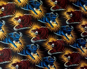 Vintage 100% Silk Handkerchief, Wall Street Theme, Bull and Bear Print, Investor Stock Broker Gift, Stock Market Pocket Square