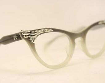 Unique Unused Gray Fade Rhinestone cat eye glasses  vintage cateye eyeglasses frames New Old Stock