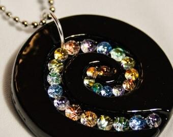 Steph Glass Black Rainbow Spiral Dichroic Pendant, Fused Glass Necklace, StephGlass Original Art