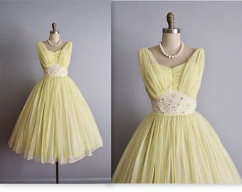 50's Beaded Dress // Vintage 1950's Beaded Lemon Chiffon Wedding Prom Dress S