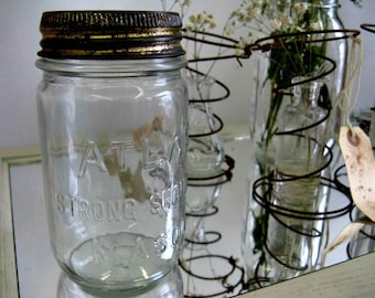 Antique Hazel Atlas Jar with Zinc Rim Glass Insert Nordic French Inspired