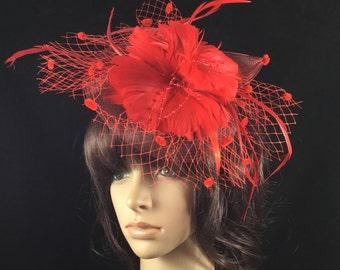 Red Feather Fascinator, Red Derby Hat,  Mesh Fascinator Hat, Kentucky Derby Hat, Church Hat, Wedding Hat, Dress Hat, Tea Party Hat