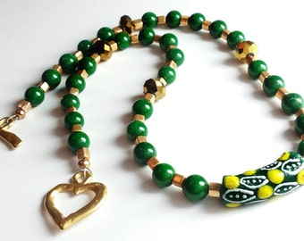 Green Jade Gemstone Beaded Necklace - Green, Gold and Tribal Featuring African Krobo Trade Bead