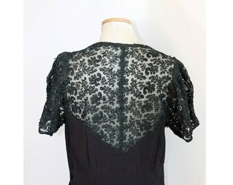 1930s Black Maxi Dress // Large