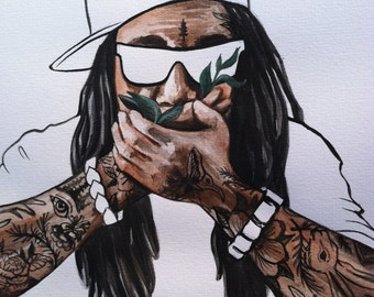 Lil Wayne and Nature Original Watercolor 9x9""