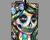 Stainless Steel 8 oz. Hip Flask - Pop Art Horror Splatter Portrait - Spooky Neon Punk Rock Skull Girl - Rainbow Skeleton Portrait