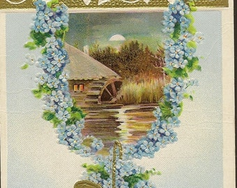 Gold Basket of Forget-me-Nots Full Moon Over Mill – Charming Vintage Postcard Best Wishes