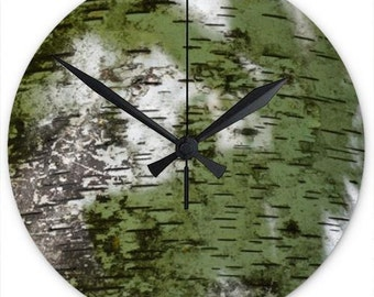 Birch Bark Pattern on 8 Inch Acrylic Wall Clock – Perfect Home Décor Accent Suitable For Many Rooms – Bring the Outdoors In