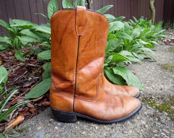 70s/80s Golden Caramel Leather Western Cowboy Biker Riding Ranch Boots Mens 10