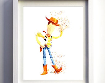 WOODY TOYSTORY - Childrens bedroom WATERCOLOUR illustraion art - Print-at-Home, easy fast and unique gift idea