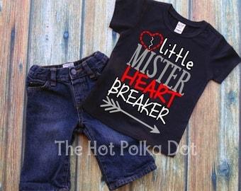 """Boy Valentine's Day Shirt, Toddler Boy """"Little Mister Heart Breaker"""" Boy Valentine's Day Short Sleeve Black TShirt - Boy Valentine Shirt"""