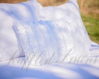 Ruffled Linen pillow with tuxedo ruffles
