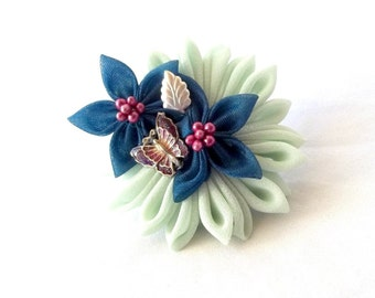 Wearable Fiber Art Corsage Ring Statement Jewelry Fabric Flowers and Butterfly Mint Teal Purple