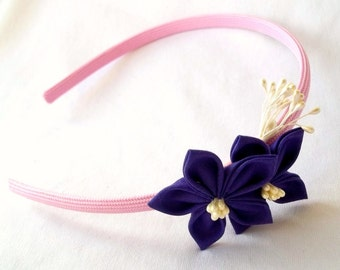 Unique Pink and Purple Flower Girl Headband with Kanzashi