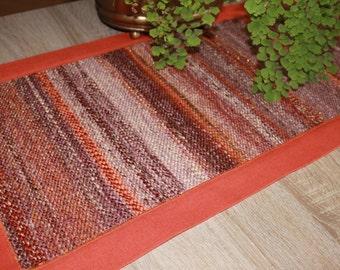 Handwoven Table Runner - Gift for Mom - Christmas gift - Orange, brown, mustard