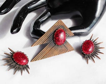 Vintage Modernistic Glitter Cabochon and Copper Brooch / Clip-On Earring Set