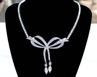 Early 1945 MARCEL BOUCHER Crystal Baguette and Chaton Rhinestone Vintage Necklace - Inventory #2310