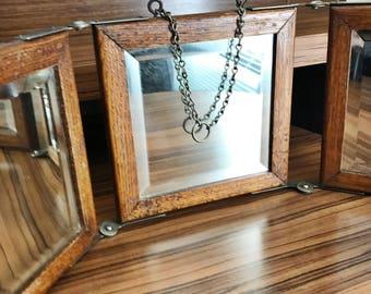 Antique Victorian Era Oak Tri-fold Shaving Mirror