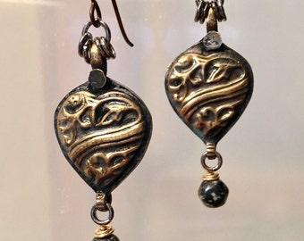 Artisan earrings #56...Bronze heart with glass drop